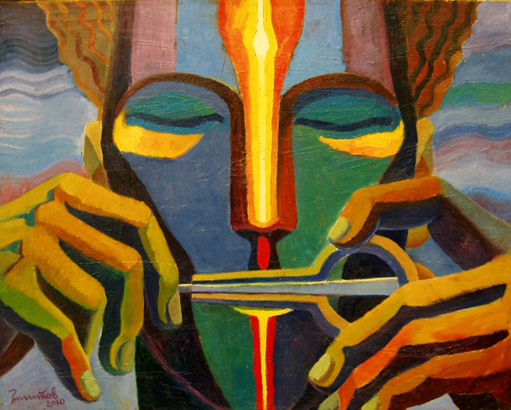 Vibration Of Consciousness (Collection Of Bashkir State Art Museum) - © 2010 consciousness, vibration, mind, vibes, music, jew's harp, jaw harp, Lamellophone, melody, musical, playing music, ethnic, ethnic music, avatar, exotic, asia, hands, face, vibration of consciousness Online Artworks