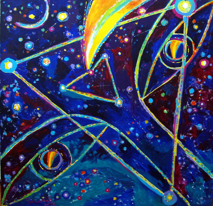 The Night - Painting,  150x150x3 cm ©2010 by Vladimir Zagitov -                                                                                                                        Contemporary painting, Canvas, Abstract Art, Asia, Spirituality, Outer Space, Love / Romance, Nature, night, night sky, nuit, ciel de nuit, eyes, les yeux, mystery, mystère, stars, étoiles, comète, comet, contemplation