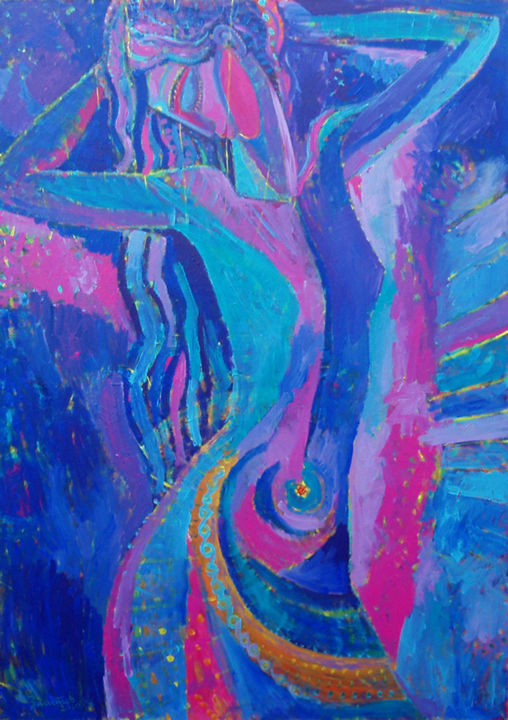 Indigo - Painting,  160x113x3 cm ©2010 by Vladimir Zagitov -                                                                                                                                                                                                                                                                                                                                                Contemporary painting, Abstract Art, Abstract Expressionism, Figurative Art, Impressionism, Modernism, Pop Art, Portraiture, Symbolism, Fauvism, Environmental Art, Expressionism, Canvas, Music, Women, World Culture, Angels, Water, Spirituality, Health & Beauty, Love / Romance, Portraits, Nature, Colors, Flower, Erotic, danse, danse de femme, danseur de femme, indian, indian female, yoga, yoga girl, dance girl, spiritual dance, indigo femme, indigo, blue, bleu