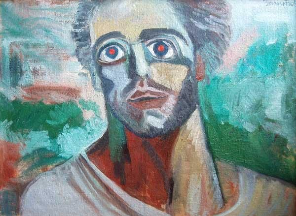 Recovering Of Blind - Painting,  31.5x39.4 in, ©2001 by Vladimir Zagitov -                                                              portrait