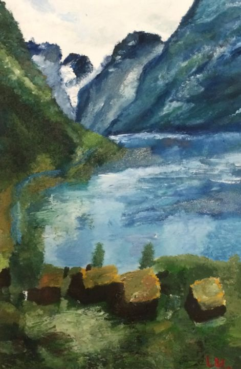 """Painting titled """"Norway's lanscape"""" by Fluorine, Original Art, Oil"""