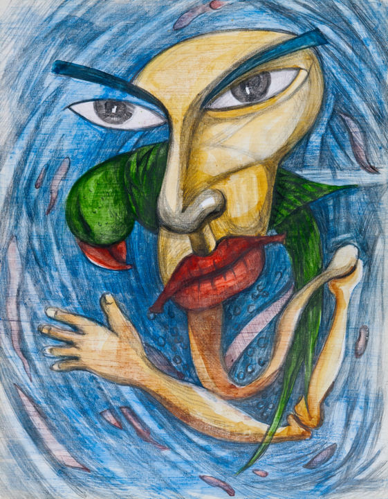 """Painting titled """"Parrot and Me-15"""" by Md. Zahurul Hoque Shahin, Original Art, Pencil"""