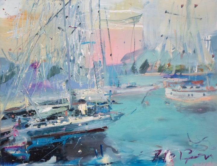 harbour scene - Painting,  36.2x45.7 in, ©2013 by ILGVARS ZALANS -                                                                                                                                                                                                  art, seaside, beach, girl