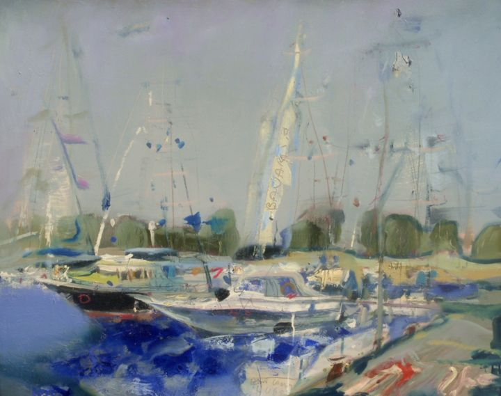 city-harbour-003 - Painting,  31.5x39.4 in, ©2015 by ILGVARS ZALANS -                                                                                                                                                                                                      Boat, boats, jachts, summer