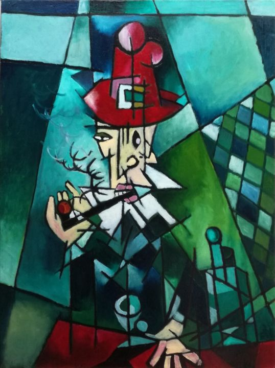 """Painting titled """"THE MAN WITH THE RE…"""" by Jimmy Zalkauskas, Original Art, Oil"""