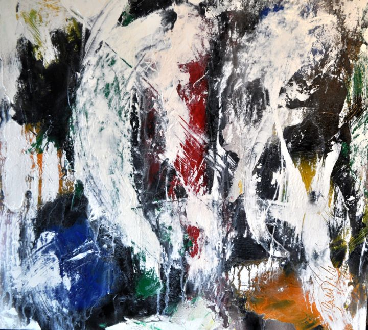 Variations 2 - Painting,  60x60x2 cm ©2015 by Antonio Zamariola -                                                        Abstract Art, Canvas, Abstract Art