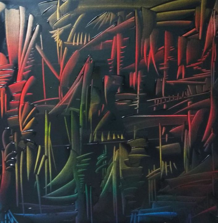 Labyrinthe - Painting,  27.6x27.6x0.8 in, ©2020 by Antonio Zamariola -                                                                                                                                                                                                                                                                                                                                                          Abstract, abstract-570, Abstract Art, Performing Arts, Colors, Fantasy, Science-fiction