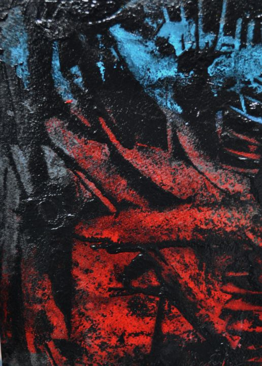 Rouge, Noir et Bleu - Painting,  11.8x7.9 in, ©2020 by Antonio Zamariola -                                                                                                                                                                          Abstract, abstract-570, Abstract Art