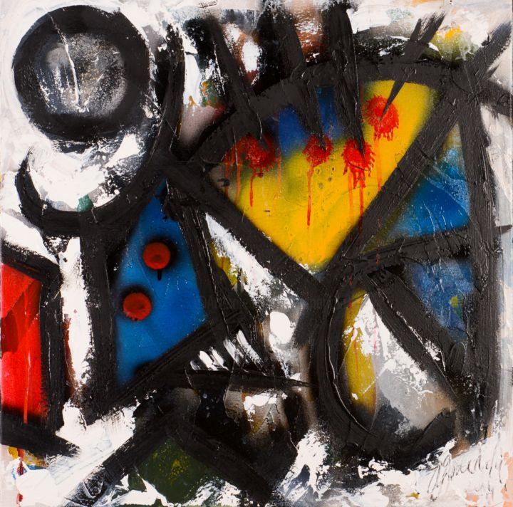 Mise à mort - Painting,  19.7x19.7 in, ©2015 by Antonio Zamariola -                                                                                                                                                                          Abstract, abstract-570, Abstract Art