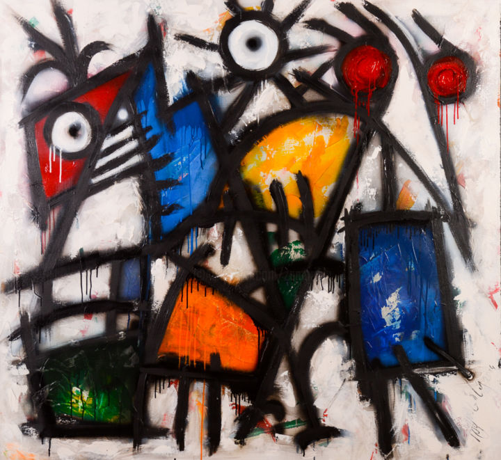 le grand bestiaire - Painting,  120x130x2 cm ©2015 by Antonio Zamariola -                                                        Abstract Art, Canvas, Abstract Art