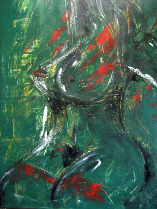 Femme nue aux bas rouges - Painting,  39.4x27.6x0.8 in, ©2015 by Antonio Zamariola -                                                                                                                                                                                                                                                                  Figurative, figurative-594, Nude, Body, Erotic