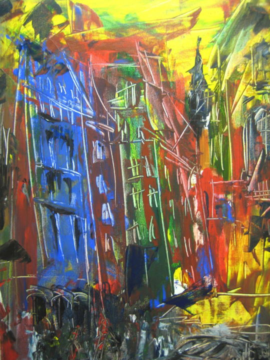 Un jour, une rue... - Painting,  70x50 cm ©2015 by Antonio Zamariola -                                                        Contemporary painting, Canvas, Cities