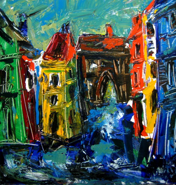 Porte de la ville - Painting,  50x50 cm ©2015 by Antonio Zamariola -                                                        Contemporary painting, Canvas, Landscape