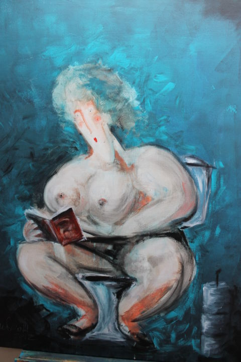 "Femme lisant ""500 nuances ..."" - Painting,  39.4x31.5x0.8 in, ©2015 by Antonio Zamariola -                                                                                                                                                                          Figurative, figurative-594, Nude"