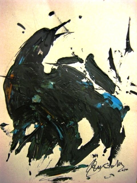 Maréé noire - Painting,  19.3x15 in, ©2015 by Antonio Zamariola -                                                                                                                                                                                                                          Abstract, abstract-570, Birds, nature