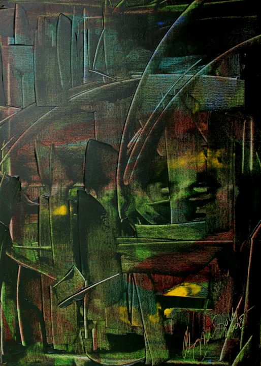 12 juin 2109 - Painting,  27.6x19.7 in, ©2006 by Antonio Zamariola -                                                                                                                                                                          Abstract, abstract-570, Abstract Art