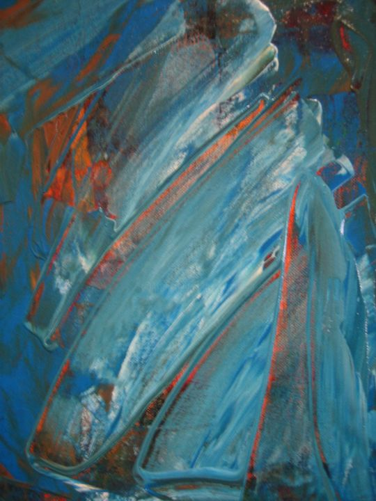 La vague meurtrière - Painting,  40x30 cm ©2005 by Antonio Zamariola -                                                        Abstract Art, Canvas, Abstract Art