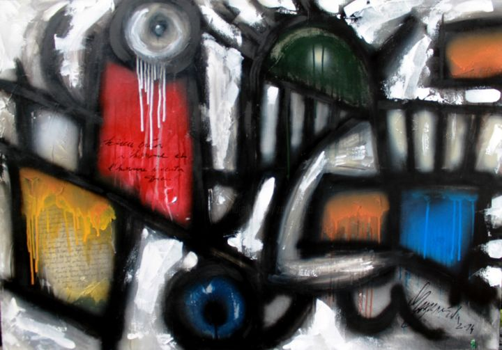 Sans titre - Painting,  27.6x39.4x0.8 in, ©2014 by Antonio Zamariola -                                                                                                                                                                                                                                                                  Abstract, abstract-570, Abstract Art, Graffiti, Spirituality