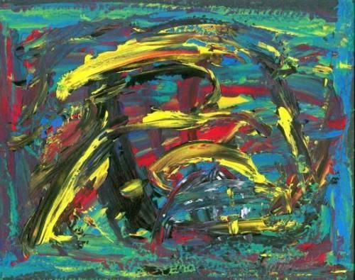 zammerly rts45 - Painting,  10x12 in ©2004 by Z Zammerly -                            Abstract Art, ORIGINAL ABSTRACT BRUSHLESS PAINTING IN OIL, ACRYLIC AND GOUACHE. LIMITED GICLEE PRINTS AVAILABLE, SIGNED AND NUMBERED.