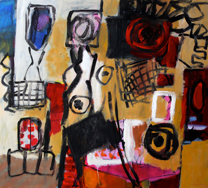 Composition 2231 - Schilderij,  35,4x39,4x0,8 in, ©2009 door Engelina Zandstra -                                                                                                                                                                                                                                                                                                                                                                                                                                                                                                                                                                                          Abstract, abstract-570, Abstracte kunst, Fantasie, Interieur, Mensen, interior, people, surrealistic, black, red, fantasy