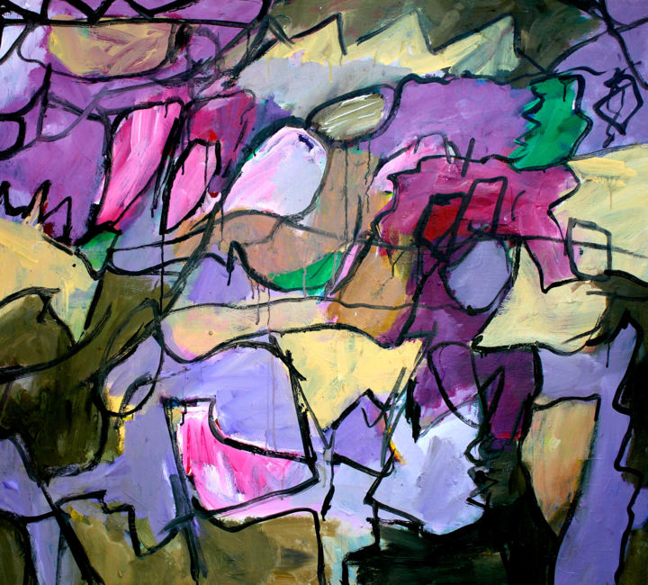 Composition 1611 - Painting,  35.4x39.4x0.8 in ©2011 by Engelina Zandstra -                                                                                                                    Abstract Expressionism, Abstract Art, Expressionism, Contemporary painting, Abstract Art, Fantasy, Colors, Landscape, landscape, colorful, shapes, pattern, rythm, purple