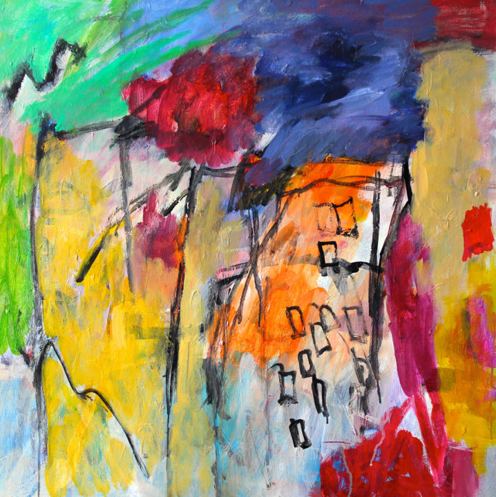 Composition 1359 - Painting,  35.4x35.4x0.8 in ©2011 by Engelina Zandstra -                                                                                                                    Abstract Expressionism, Abstract Art, Expressionism, Contemporary painting, Fantasy, Colors, Landscape, Cities, landscape, city, building, fantasy, lines, pattern