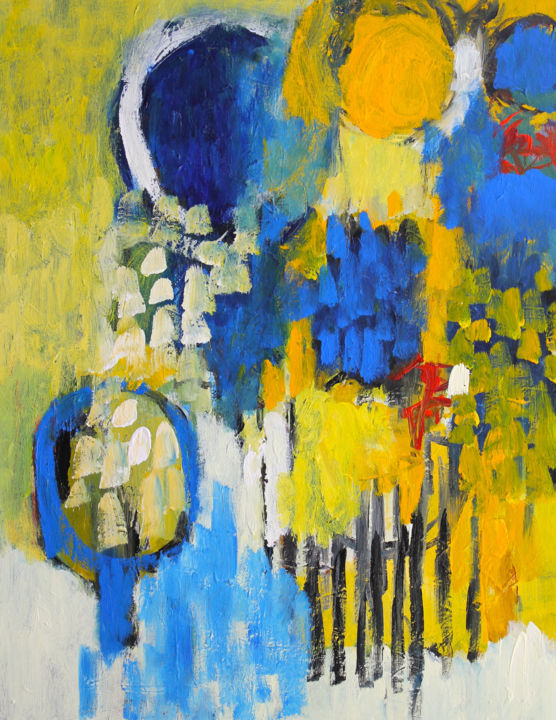 Composition 4511 - Painting,  90x70x2 cm ©2016 by Engelina Zandstra -                                                                                                                    Abstract Expressionism, Abstract Art, Expressionism, Contemporary painting, Abstract Art, Fantasy, Colors, Landscape, shapes, summer, yellow, blue, landscape, colorful, fantasy