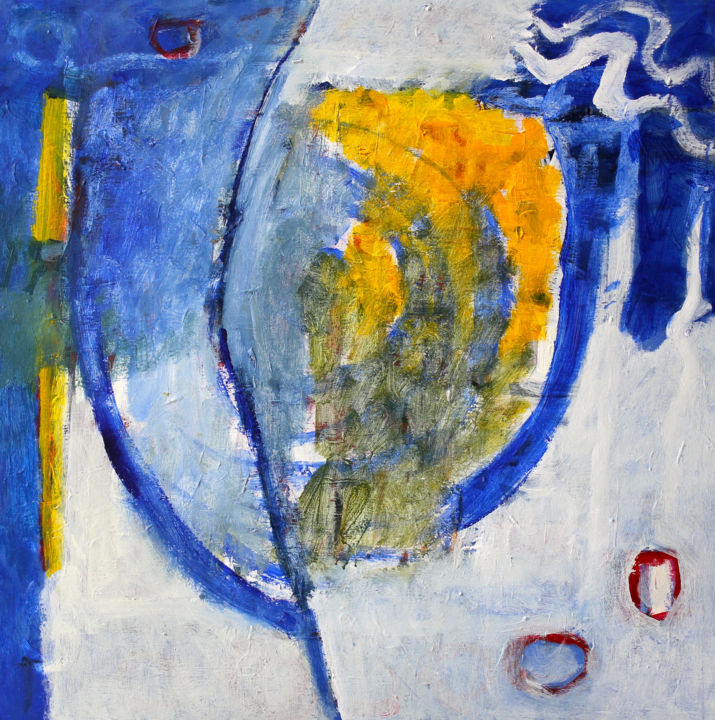 Compositie 4960 - Painting,  35.4x35.4x0.8 in ©2018 by Engelina Zandstra -                                                                                                                    Abstract Expressionism, Abstract Art, Expressionism, Contemporary painting, Abstract Art, Fantasy, Colors, Landscape, landscape, circle, abstract, blue, yellow, white, fantasy