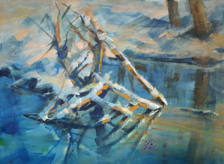 """Painting titled """"Winter and branches"""" by Zarko Radovanovic, Original Art, Acrylic"""