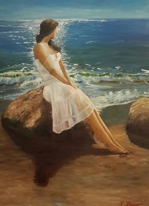 Great expectations - Painting,  70x60 cm ©2014 by Zaur Fikret -                                            Realism, Women, Expectations, hopes, woman, girl, sea, thought, waves, blue sea, cloudy weather, open sky, rocks, girl sitting on the rock, sand, stones, V.Zaur painting, nice woman, nice girl, beautiful view, sea view, woman and sea
