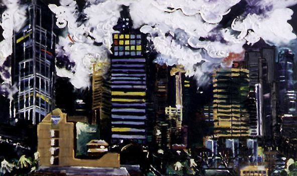 """Painting titled """"MELBOURNE, oil on c…"""" by Zbych Trofimiuk, Original Art,"""