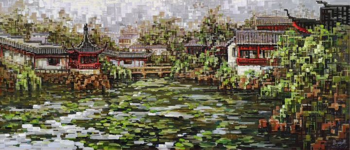"""Painting titled """"Impression garden 印…"""" by Chunlei Zhang, Original Art, Oil"""