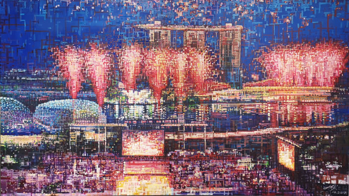 """Painting titled """"Light up Singapore…"""" by Chunlei Zhang, Original Art, Oil"""