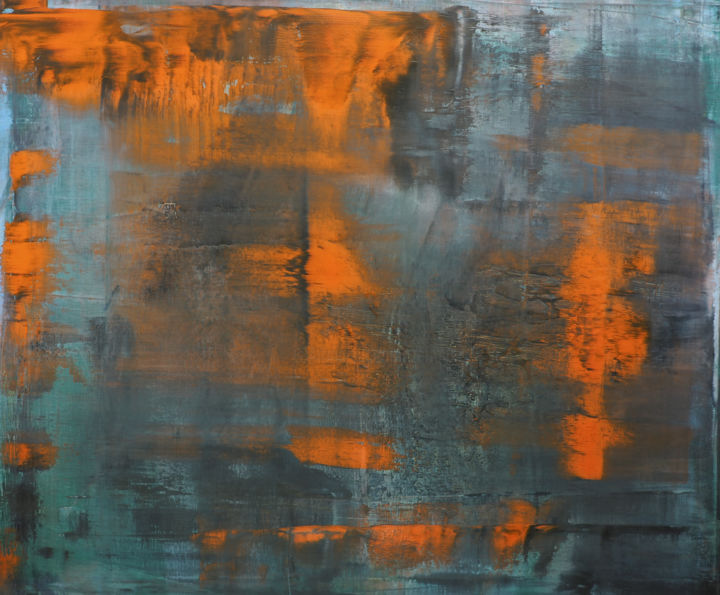 untitled - orange - - Painting,  39.4x47.2x1.8 in ©2018 by Zef Rabe -                                            Abstract Art, Abstract Art, orange, oil on canvas, zef rabe