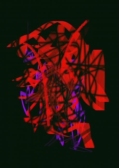 Monorouge - Painting,  15.8x11.8 in, ©2007 by Zen Chang Tchao -                                                                                                                                                                          Expressionism, expressionism-591, Abstrait lyrique portrait intérieur