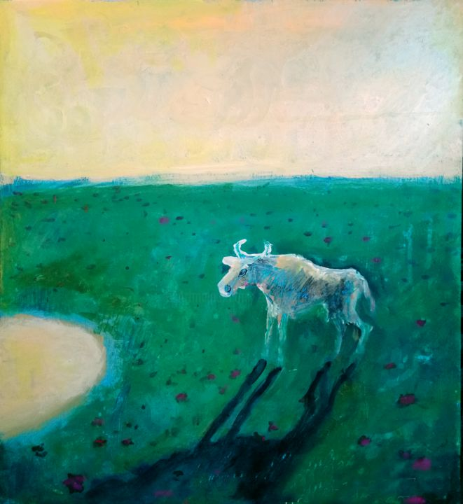 Lonely White Cow in the Fields. - Painting,  15.8x15.8x0.4 in, ©2018 by Zenya Gorlik -                                                                                                                                                                                                                      Conceptual Art, conceptual-art-579, Cows, Landscape