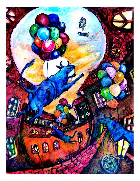 Cows Fly West - Painting,  11.4x9.1 in, ©2019 by Zenya Gorlik -                                                                                                                                                                                                                                                                                                                                                                                                                                                                                                                                              Naive Art, naive-art-948, Cityscape, Cows, Home, cows, city, fly, blue, sky, ballons