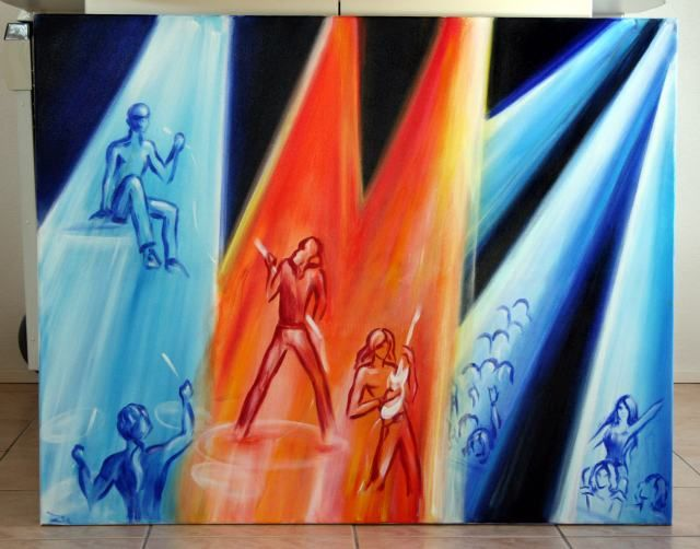 Band - Painting,  31.5x39.4 in, ©2007 by Zetem -                                                                                                                                                                          Surrealism, surrealism-627, acrylic concert music