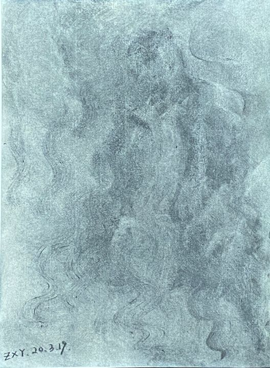 """Painting titled """"《软性期待》"""" by 修远 章, Original Art, Charcoal"""