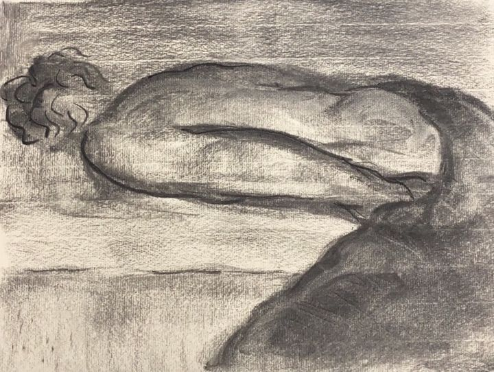 """Painting titled """"害羞的男人"""" by 修远 章, Original Art, Charcoal"""
