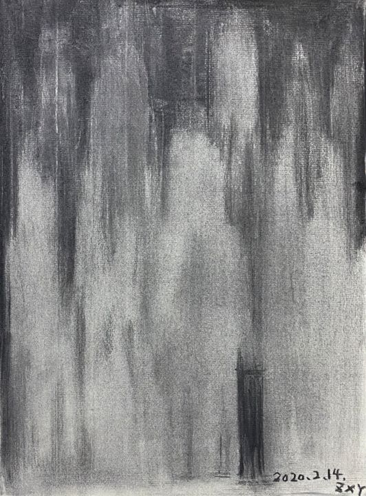 """Painting titled """"騒ぐ霊魂"""" by 修远 章, Original Art, Charcoal"""