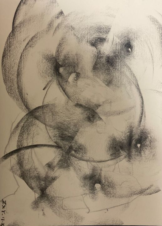 """Painting titled """"《響き》"""" by 修远 章, Original Art, Charcoal"""