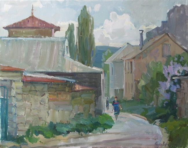 Evening in Starosele - Painting,  15.8x19.7 in, ©2009 by Juliya ZHUKOVA -                                                                                                                                                                                                                                                                                                                                                                                                                                                                                                                                                                                                                                                                                                                          Figurative, figurative-594, Tatar palace, mosque, the Tatar small streets, landscape with people, Moslem, mountain landscape, crim, Bahchisaray, summer, the sun, mountains, rocks, a landscape with mountains