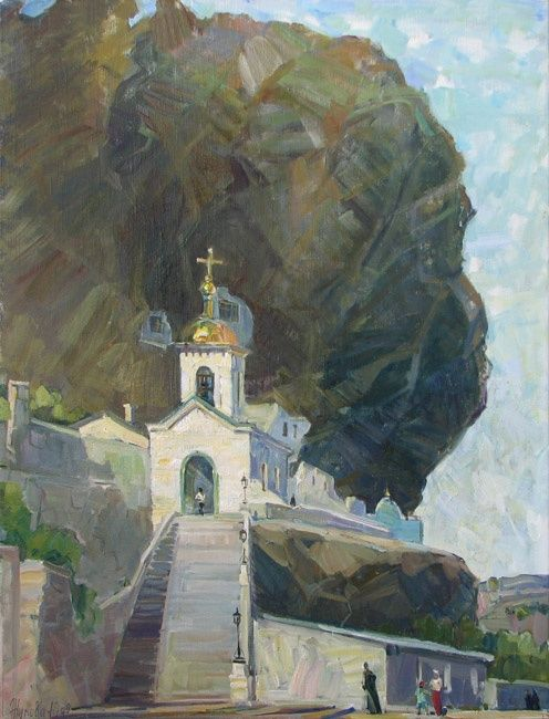 Piously-Uspensky mountain monastery in Bakhchisarai - Painting,  31.5x23.6 in, ©2009 by Juliya ZHUKOVA -                                                                                                                                                                                                                                                                                                                                                                                                                                                                                                                                                                                                                                  Figurative, figurative-594, monastery, a temple, church, landscape with a temple, a landscape with church, Rocks, mountains, a mountain landscape, Bakhchisarai, kinds of Crimea, the Crimean landscapes
