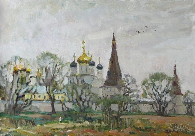 Iosifo-Volodsky monastery - Painting,  15.8x19.7 in, ©2010 by Juliya ZHUKOVA -                                                                                                                                                                                                                                                                                                                                                                                                                                                                                              Figurative, figurative-594, Church, temple, religion, realism, Russian artists, Russia, spring, a landscape