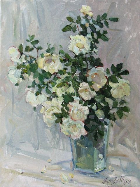 Gentle thorns - Painting,  15.8x11.8 in, ©2010 by Juliya ZHUKOVA -                                                                                                                                                                                                                                                                                                                                                                                                                                                                                                                                                                                      Figurative, figurative-594, White dogrose, white roses, dogrose bush, flowers oil, a still life, beautiful flowers, a bunch of flowers in a picture, a dogrose in a picture, flowers cheaply, a still life in pastel hues