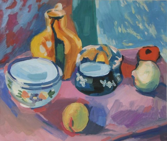 Ware and fruit - Painting,  11.8x14.2 in, ©2002 by Juliya ZHUKOVA -                                                                                                                                                                                                                                                                                                                                                                                                                                                  Figurative, figurative-594, copy to order, copy oil gouache, still life, Anri Matisse, Matiss, gouache, still life gouache