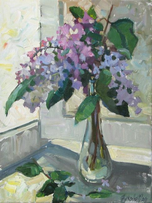Lilac - Painting,  15.8x11.8 in, ©2010 by Juliya ZHUKOVA -                                                                                                                                                                                                                                                                                                                                                                                                                                                                                                                                                                                      Figurative, figurative-594, Flowers oil, May, lilac, lilac bouquet, flowers oil, still life, beautiful flowers, Bunch of flowers inpicture, lilac in picture, flowers