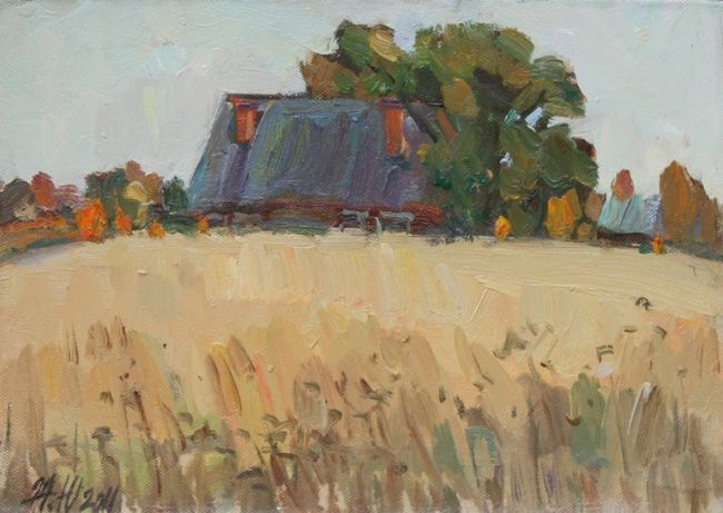 "House and field"" - Painting,  6.7x9.5 in, ©2011 by Juliya ZHUKOVA -                                                                                                                                                                                                                                                                                                                                                                                                                                                                                                                                                                                                                                                                                                                                                                                                                                                                                                                                                                                                                                              Figurative, figurative-594, lyrical landscape, rural landscape, house, farmhouse, autumn, autumn landscape, forest, trees, falling leaves, the road picture of the fall, plein air, nature, autumn weather, foliage, trees, sky, leaf fall, landscape, autumn landscape, autumn"