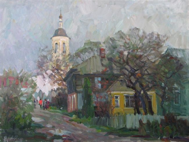 Autumn in old city urban landscape architecture church for Classic house genre